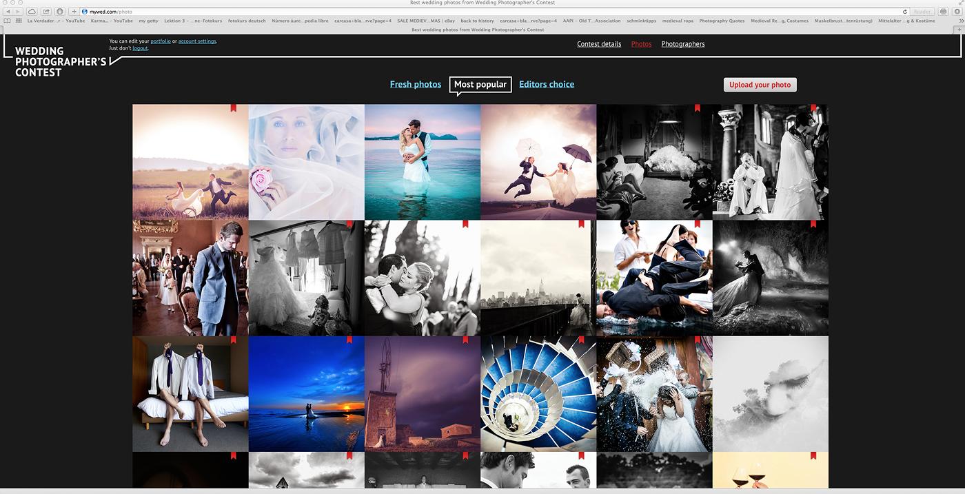 Cuatro de mis fotografías en las imagenes mas populares del concurso de fotografía de bodas de Canon
